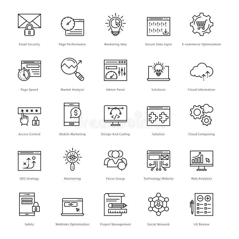 Web en SEO Line Vector Icons 39 vector illustratie