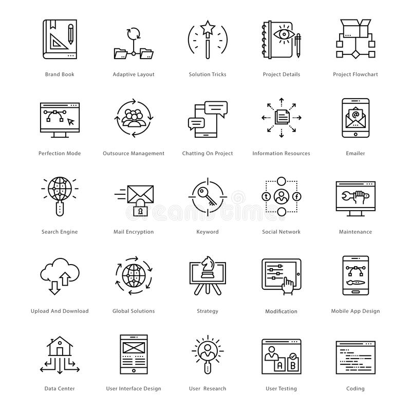 Web en SEO Line Vector Icons 43 vector illustratie
