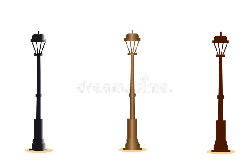 web Ensemble de lanternes de rue de ville illustration de vecteur