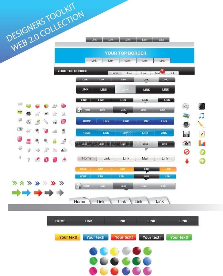 Web-Entwerfer Toolkit - Web-Grafikansammlung lizenzfreie abbildung