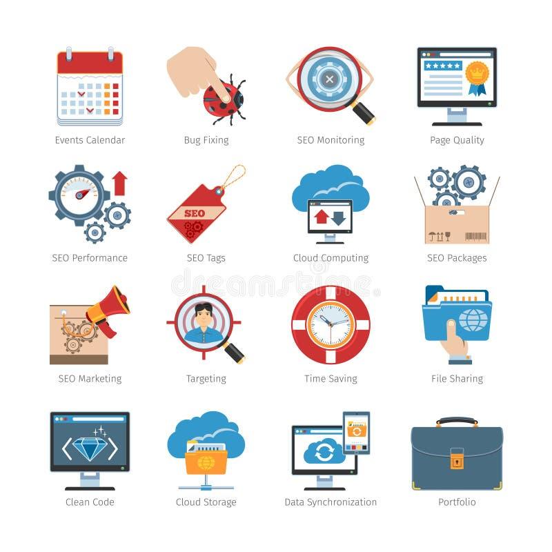 Web-Entwicklung und SEO Flat Icons Set stock abbildung