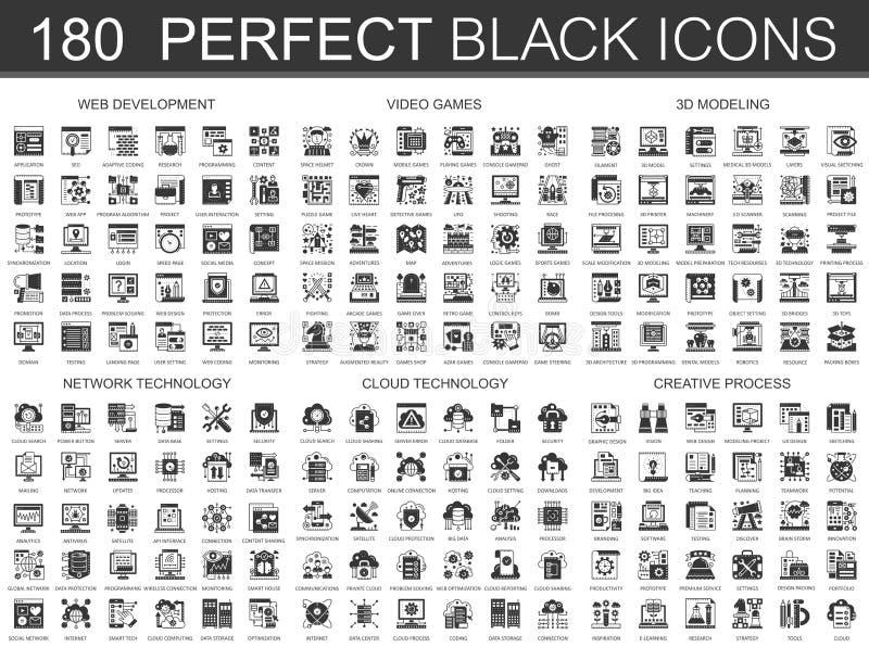 180 Web-Entwicklung, Videospiele, modellierendes 3d, Netztechnik, Wolkendatentechnologie, kreatives klassisches Prozeßschwarzes stock abbildung