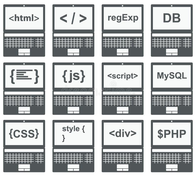 Web-Entwicklungs-Ikone, Satz auf Laptopschirm vektor abbildung