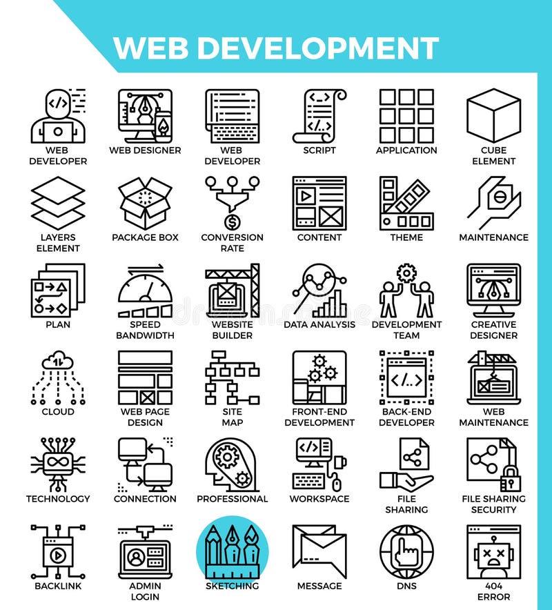 Web-Entwicklungs-Ikonen lizenzfreie abbildung