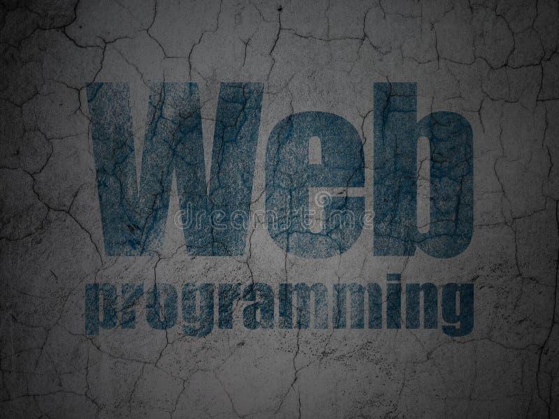 Web-Entwicklungs-Konzept: Netz, das auf Schmutzwandhintergrund programmiert lizenzfreie abbildung