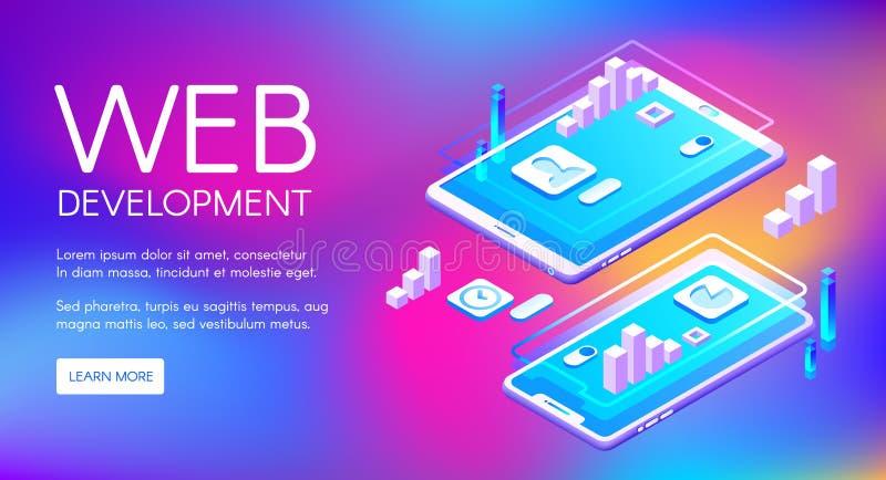 Web-Entwicklungs-Technologie-Vektorillustration vektor abbildung