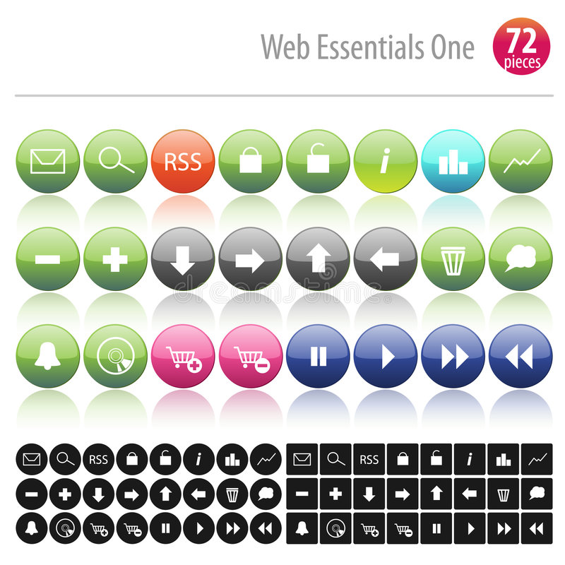 Web Essentials One 72. Pieces royalty free illustration