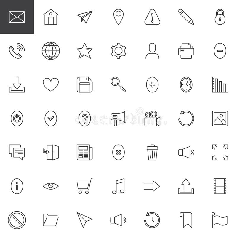 Web essentials outline icons set stock illustration
