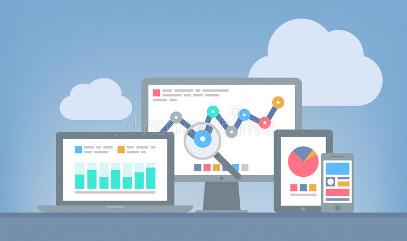 Web et concept d'analytics de SEO illustration stock