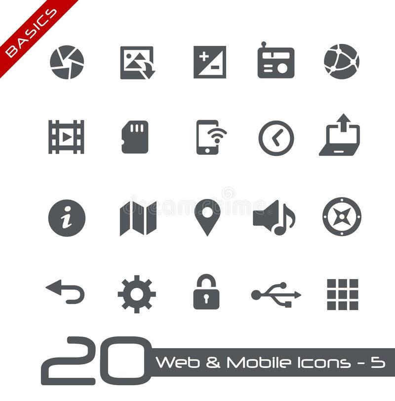 Web et fondements mobiles d'Icons-5 // illustration de vecteur