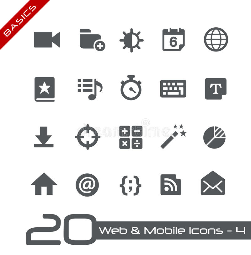 Web et fondements mobiles d'Icons-4 // illustration de vecteur
