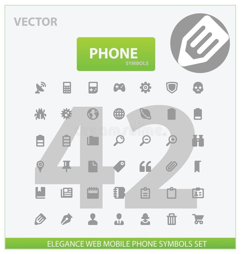 Web et graphismes universels d'ensemble de téléphone illustration de vecteur