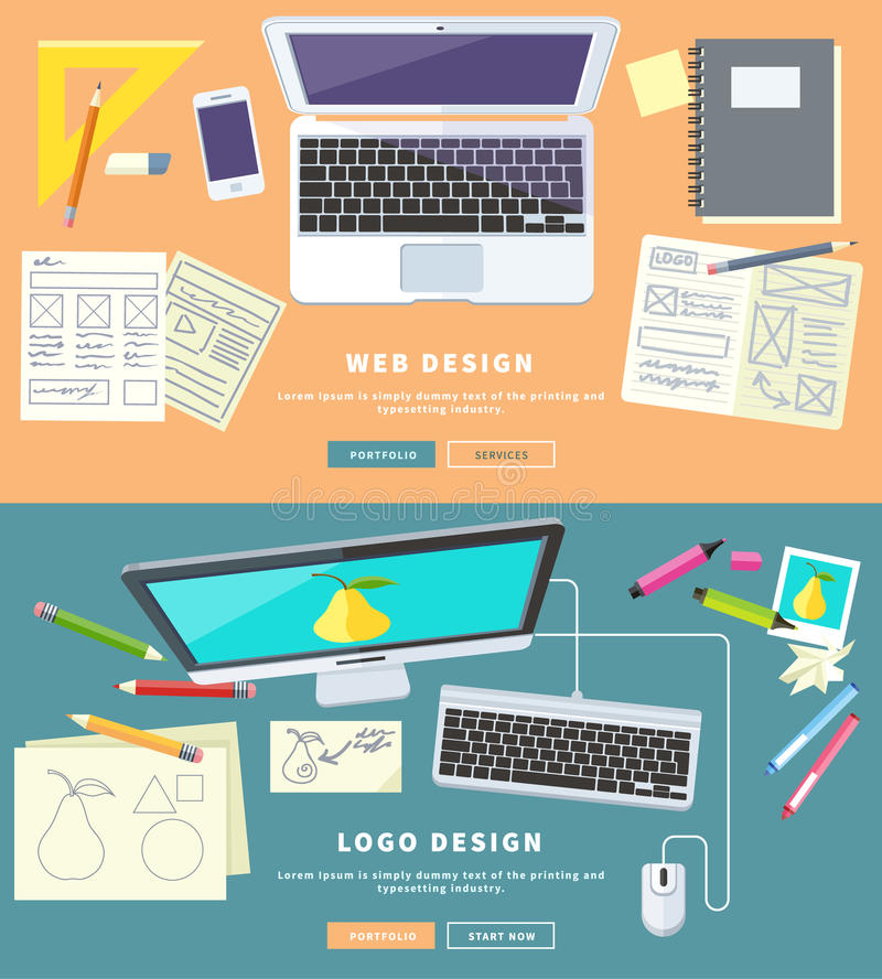 Web et Logo Design illustration stock