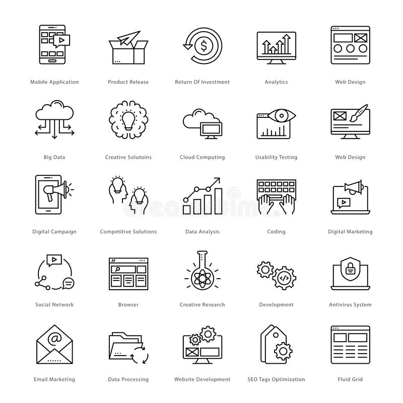 Web et SEO Line Vector Icons 2 illustration libre de droits