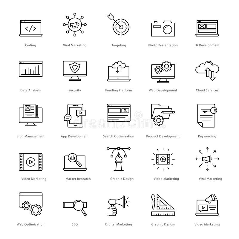 Web et SEO Line Vector Icons 1 illustration stock