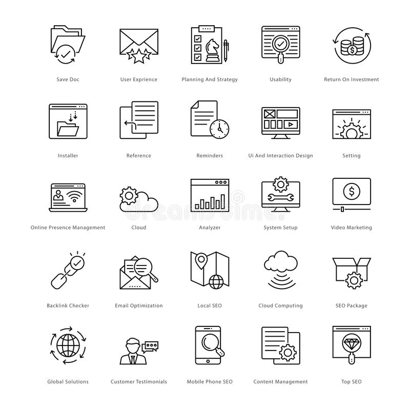 Web et SEO Line Vector Icons 16 illustration libre de droits