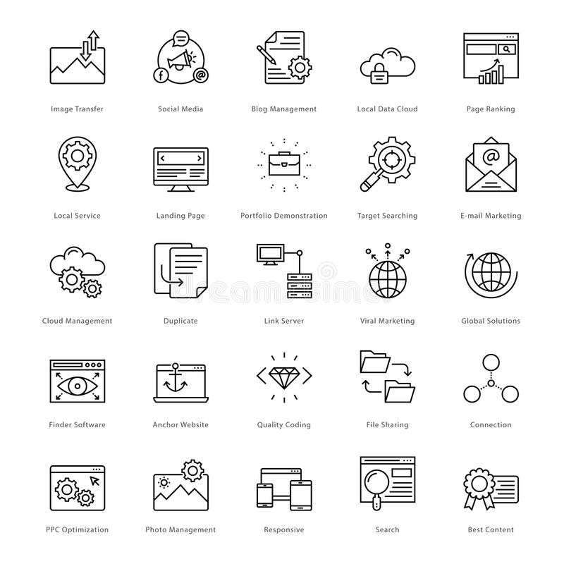 Web et SEO Line Vector Icons 10 illustration de vecteur