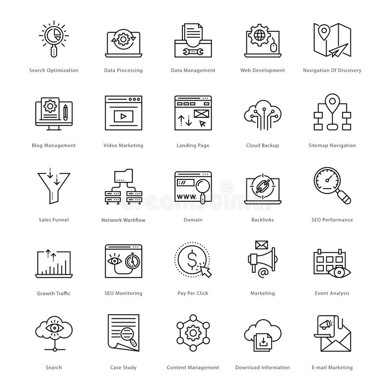 Web et SEO Line Vector Icons 51 illustration libre de droits