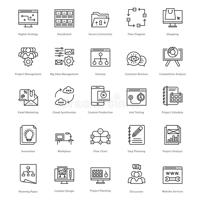 Web et SEO Line Vector Icons 44 illustration libre de droits