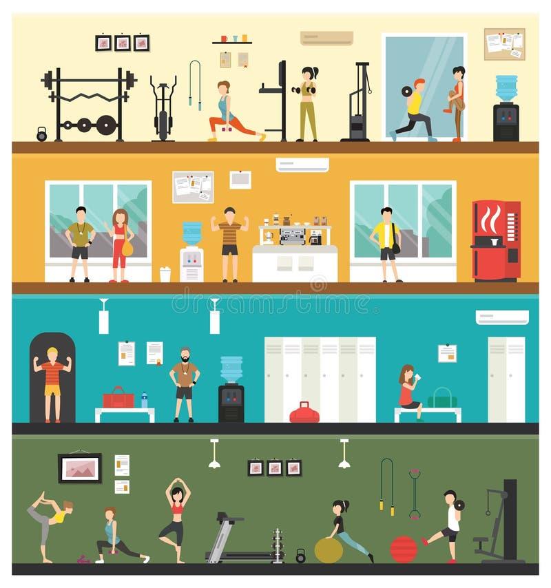 Web extérieur à plat intérieur de concept de forme physique de force d'aérobic - illustration illustration libre de droits