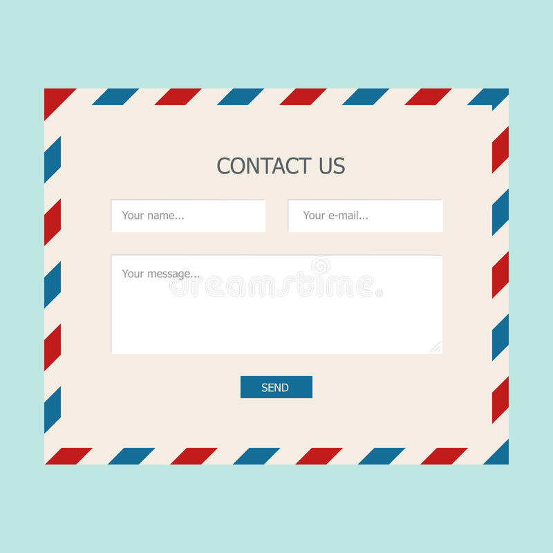 Web feedback form. With mail design for website royalty free illustration