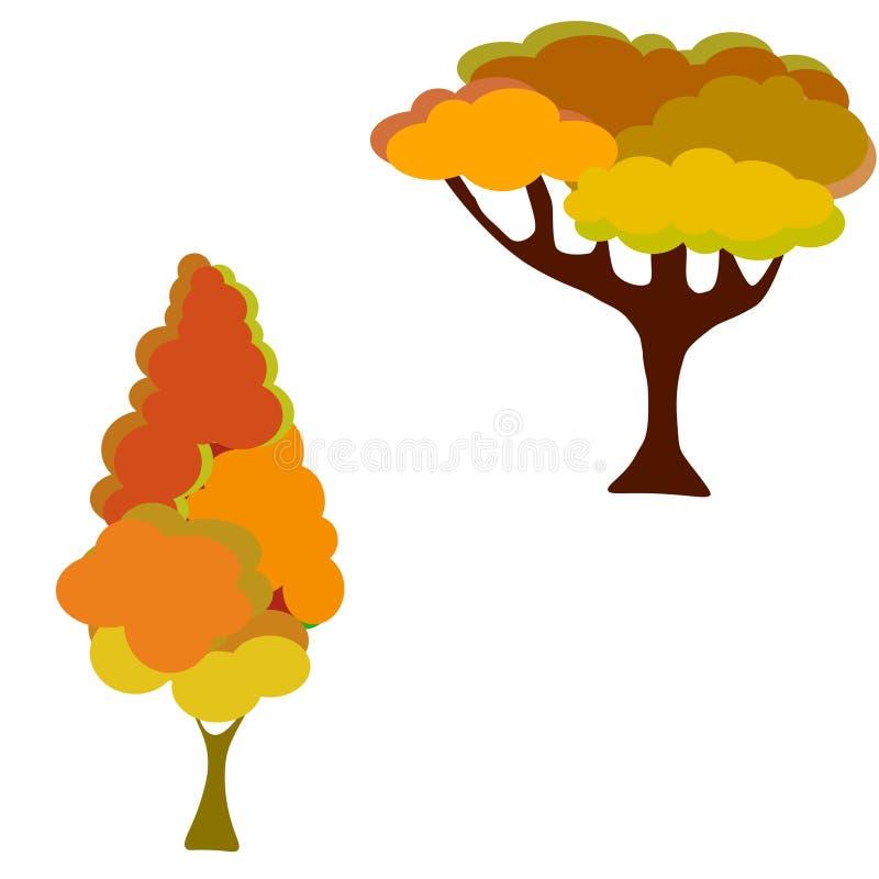 web fije de vector de los ?rboles anaranjados en el fondo blanco stock de ilustración