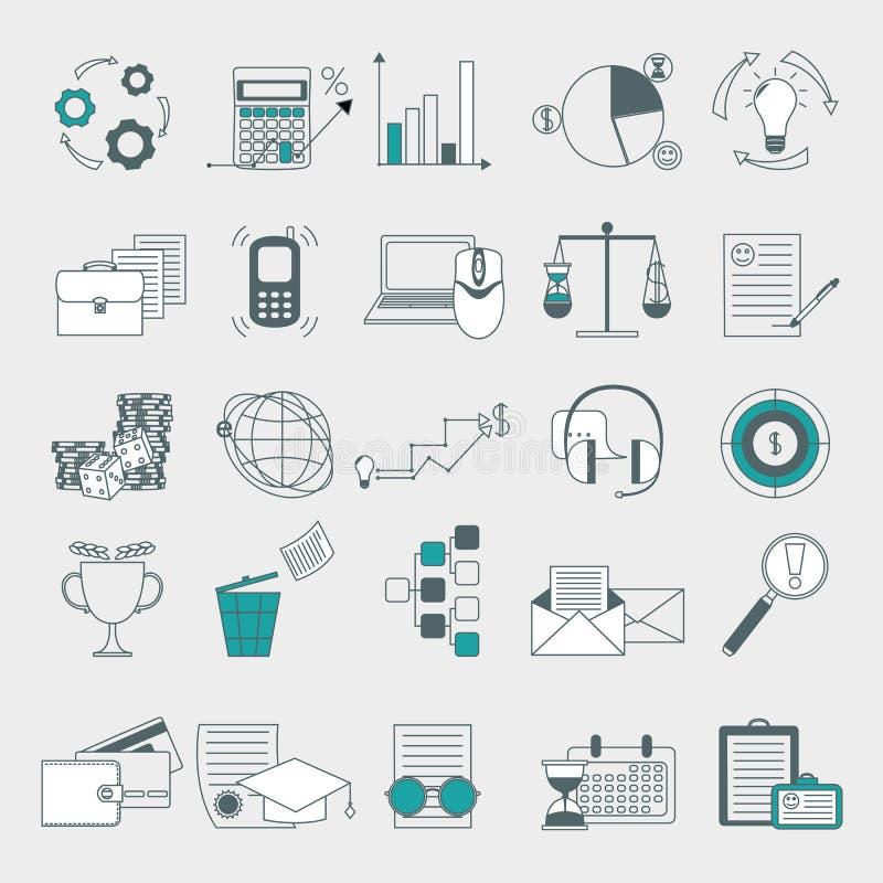 Web, finança, recursos humanos, ícones da gestão ajustados ilustração do vetor