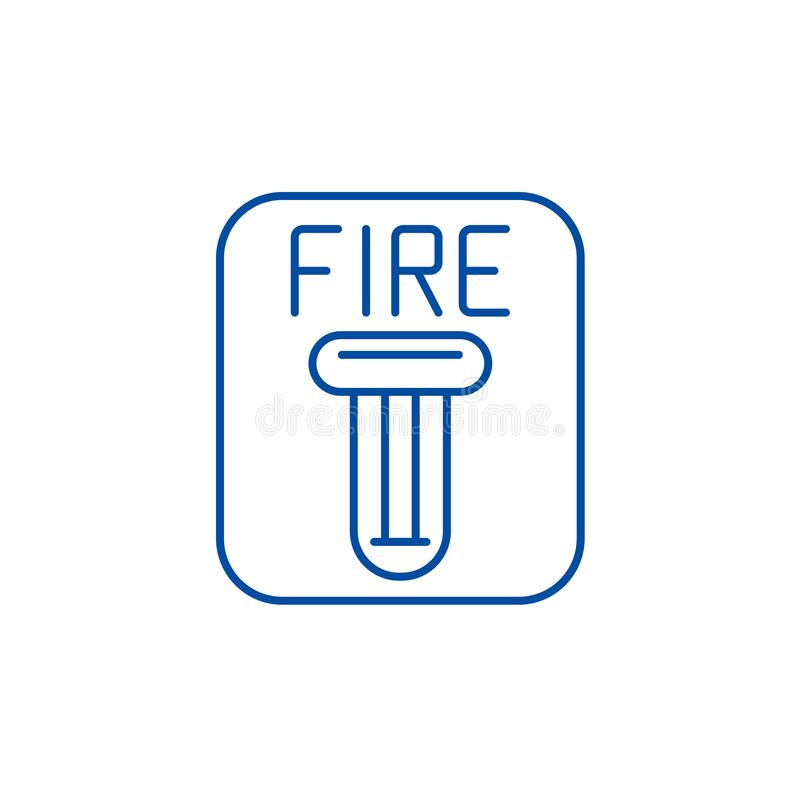 Fire safety line icon concept. Fire safety flat  vector symbol, sign, outline illustration. royalty free illustration