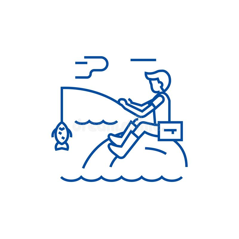 Fishing man with rod line icon concept. Fishing man with rod flat  vector symbol, sign, outline illustration. stock illustration