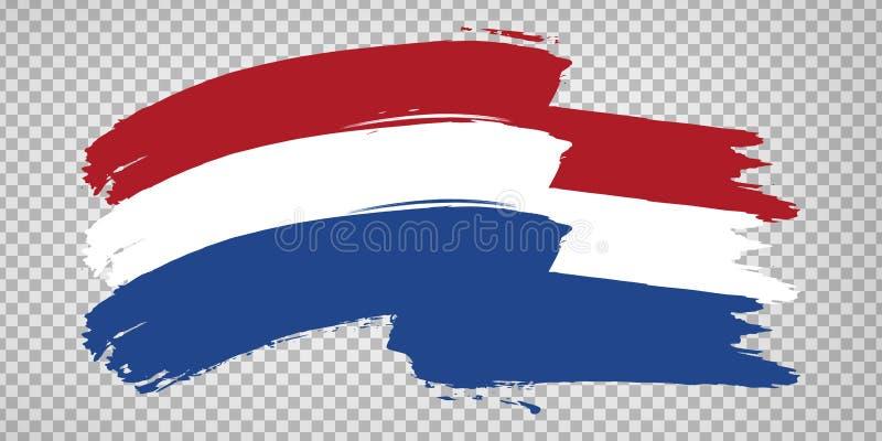 Flag of Netherlands, brush stroke background.  Waving Flag Kingdom of the Netherlands on tranparent backrgound for your web site d. Esign, logo, app, UI.  EPS10 vector illustration
