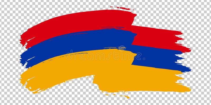 Flag Republic of Armenia, brush stroke background.  Waving Flag of Armenia on tranparent backrgound for your web site design, logo. App, UI. Asia. EPS10 royalty free illustration