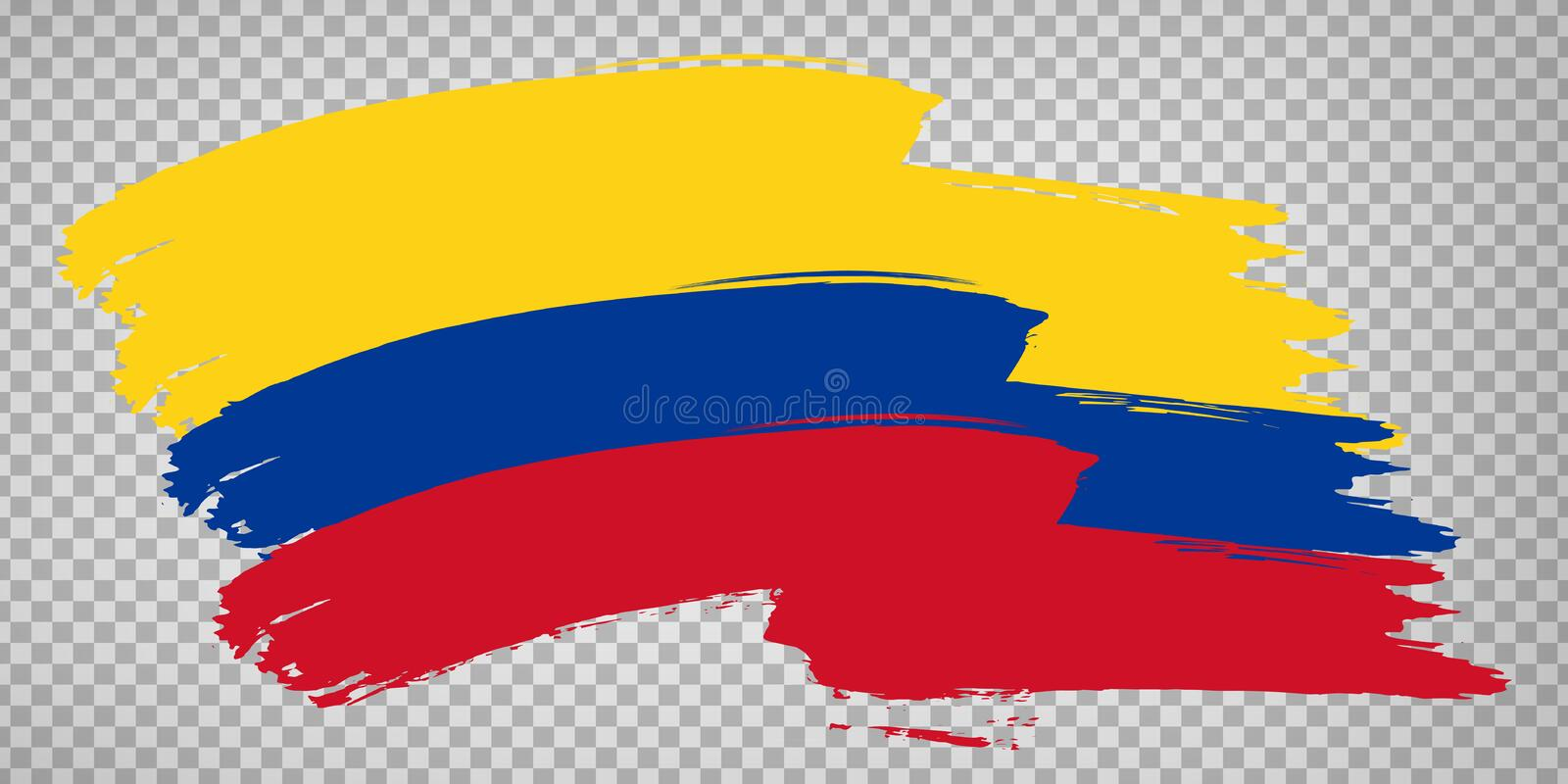 Flag Republic of Colombia, brush stroke background.  Waving Flag of Colombia on tranparent backrgound for your web site design, lo. Go, app, UI.  America. EPS10 royalty free illustration