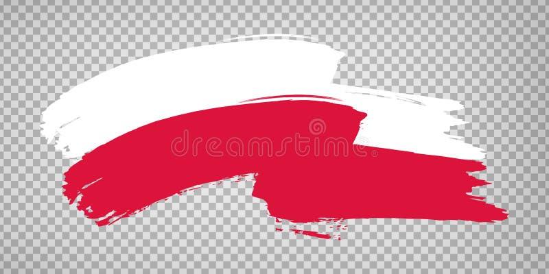 Flag Republic of Poland, brush stroke background.  Waving Flag Poland on tranparent backrgound for your web site design, logo, app. UI.  EPS10 stock illustration