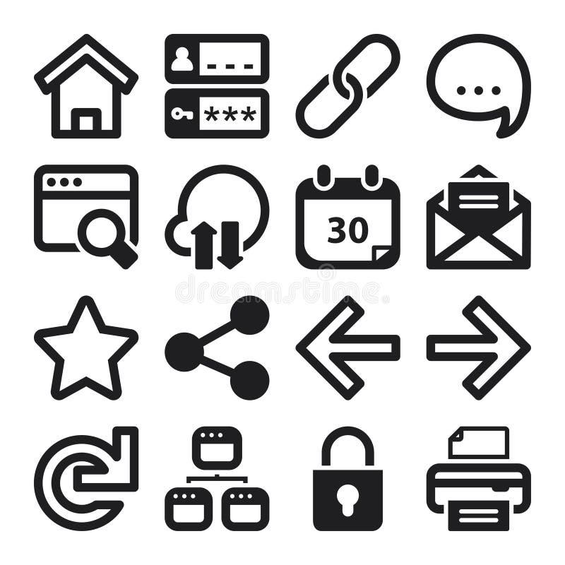 Web flat icons. Black. Set of black flat icons about web royalty free illustration