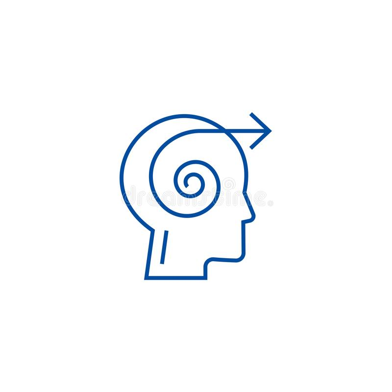 Focus decision head line icon concept. Focus decision head flat  vector symbol, sign, outline illustration. Focus decision head line concept icon. Focus stock illustration