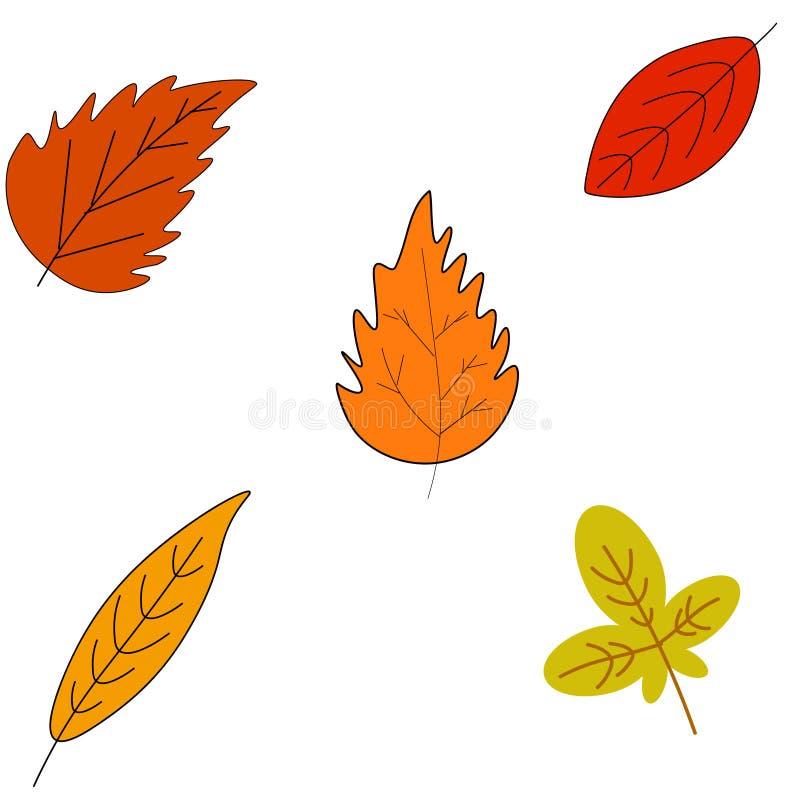web Folhas de outono coloridas ajustadas no branco ilustração stock
