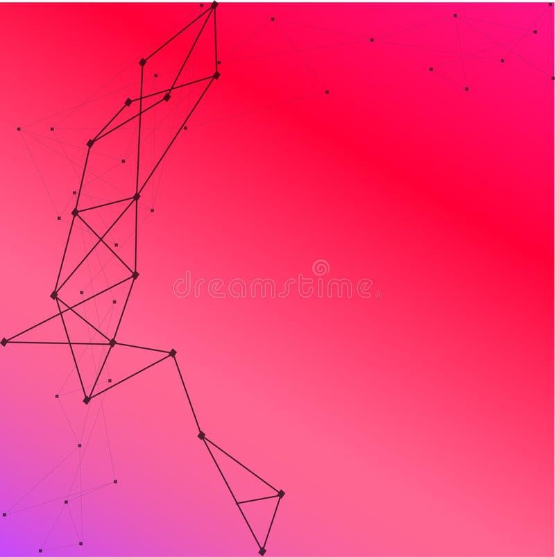 web Fondo abstracto de las cajas del vector Ejemplo moderno de la tecnolog?a con la malla cuadrada Abstracci?n geom?trica de Digi stock de ilustración