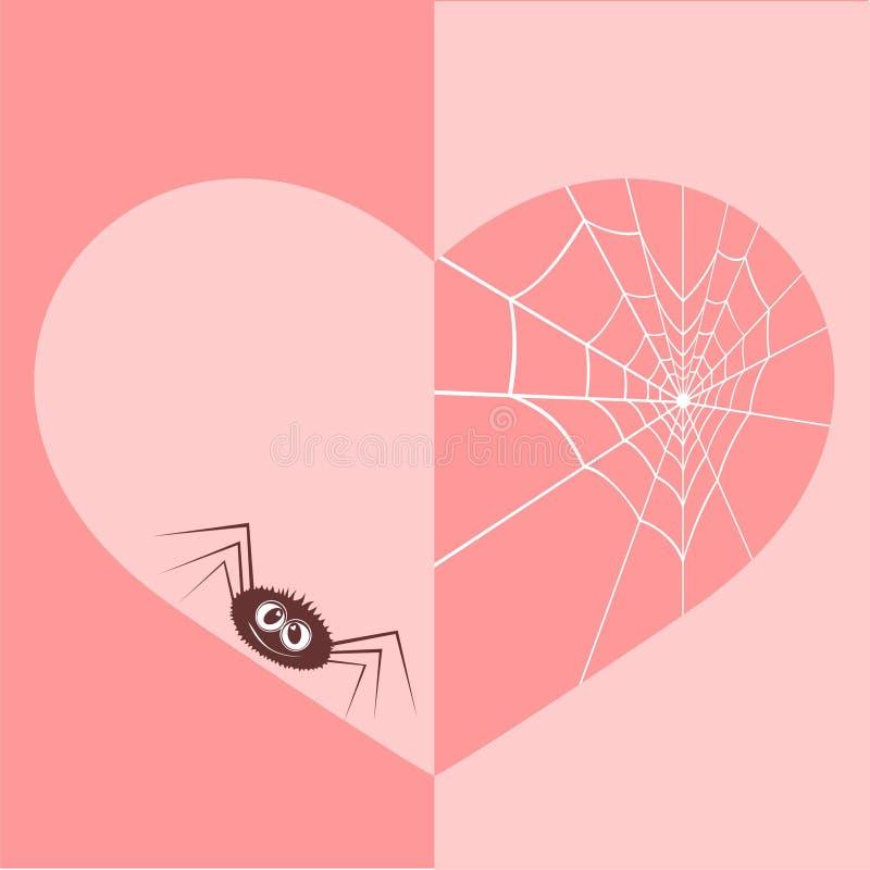 Web in Form des Inneren und einer Spinne. stock abbildung