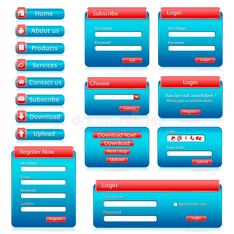 Web Form Template. Illustration of set of web form templates on isolated background stock illustration