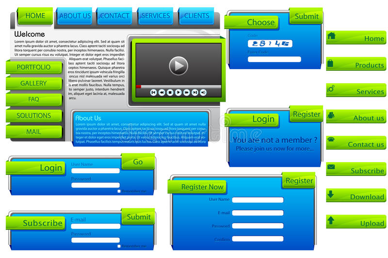 Web Form Template. Illustration of set of web form templates on isolated background royalty free illustration