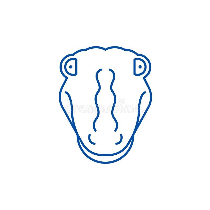Funny crocodile line icon concept. Funny crocodile flat  vector symbol, sign, outline illustration. stock illustration