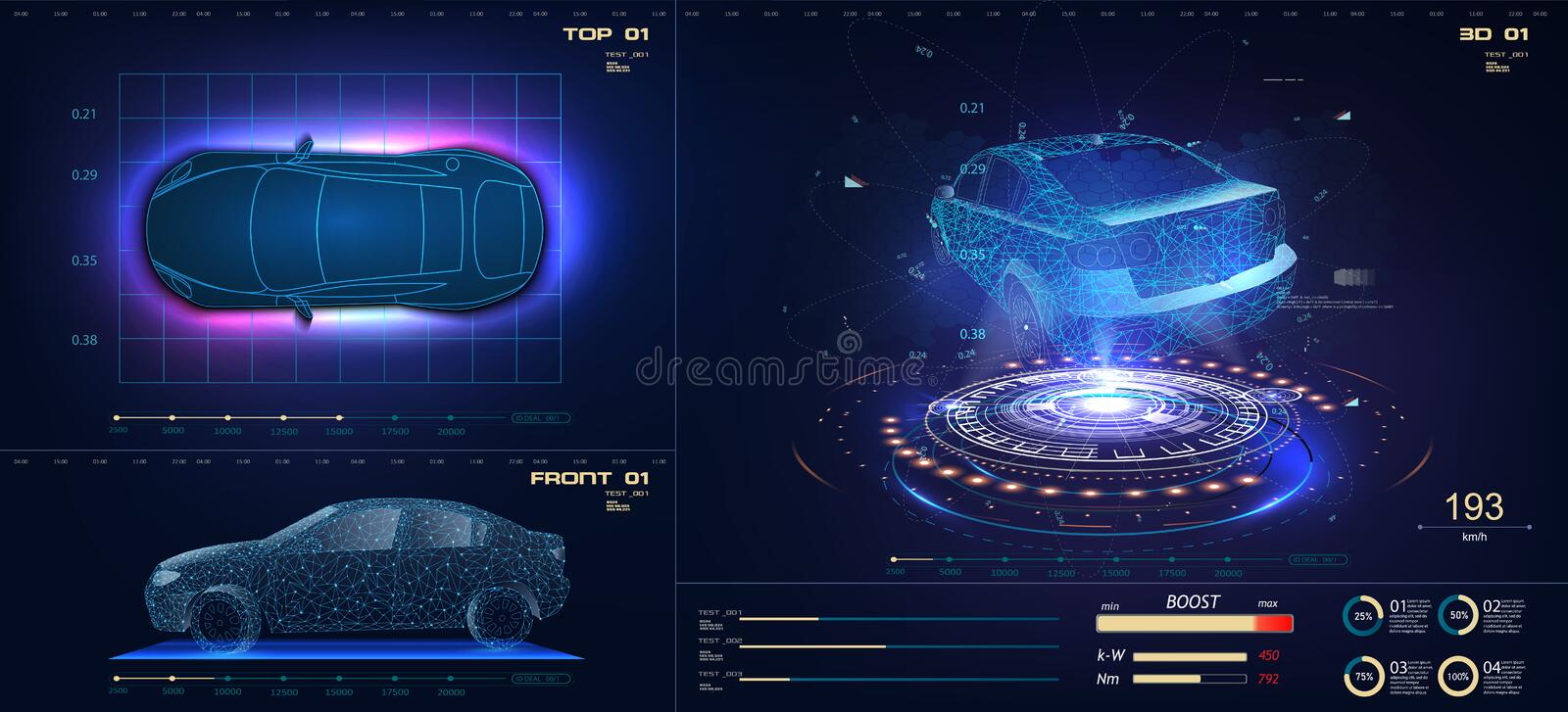 Future car in abstract style on blue background. Futuristic vector HUD GUI UI interface screen design. Automotive royalty free illustration