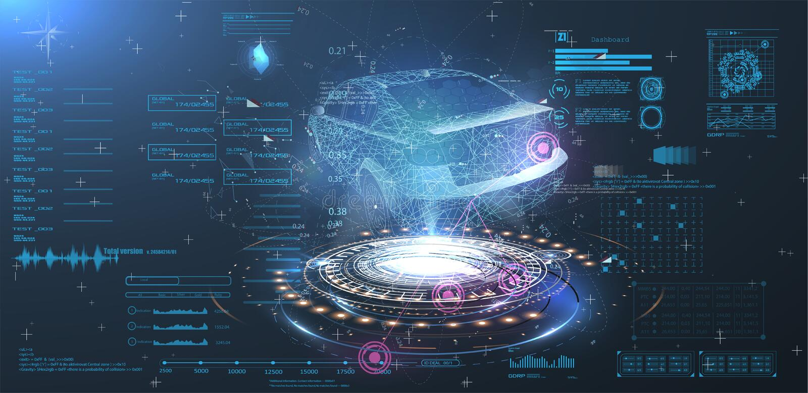 Web. Futuristic car user interface. HUD UI. Hologram of the car, scanning. Abstract virtual graphic touch user interface. Car service in the style of HUD stock illustration