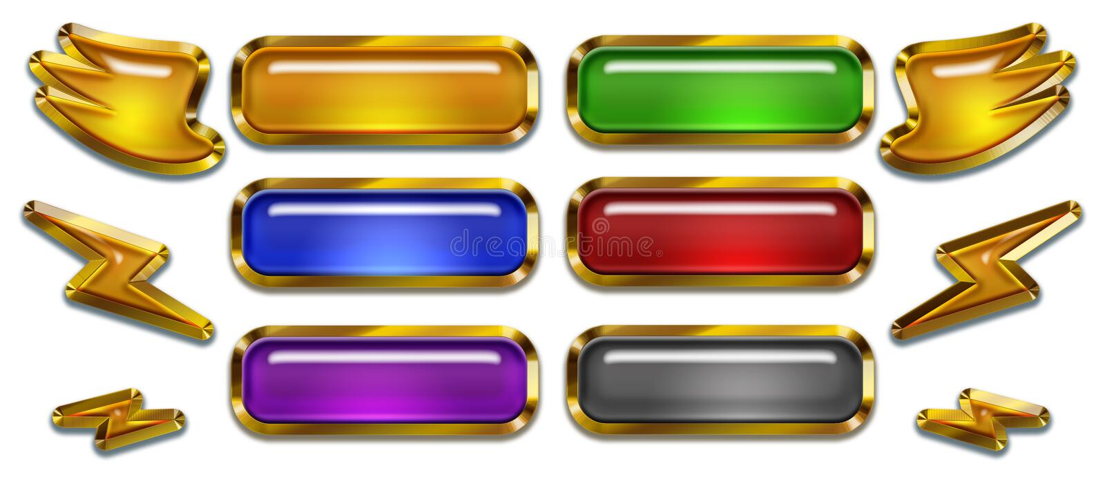 Web and game design buttons and elements, ready to use template royalty free illustration