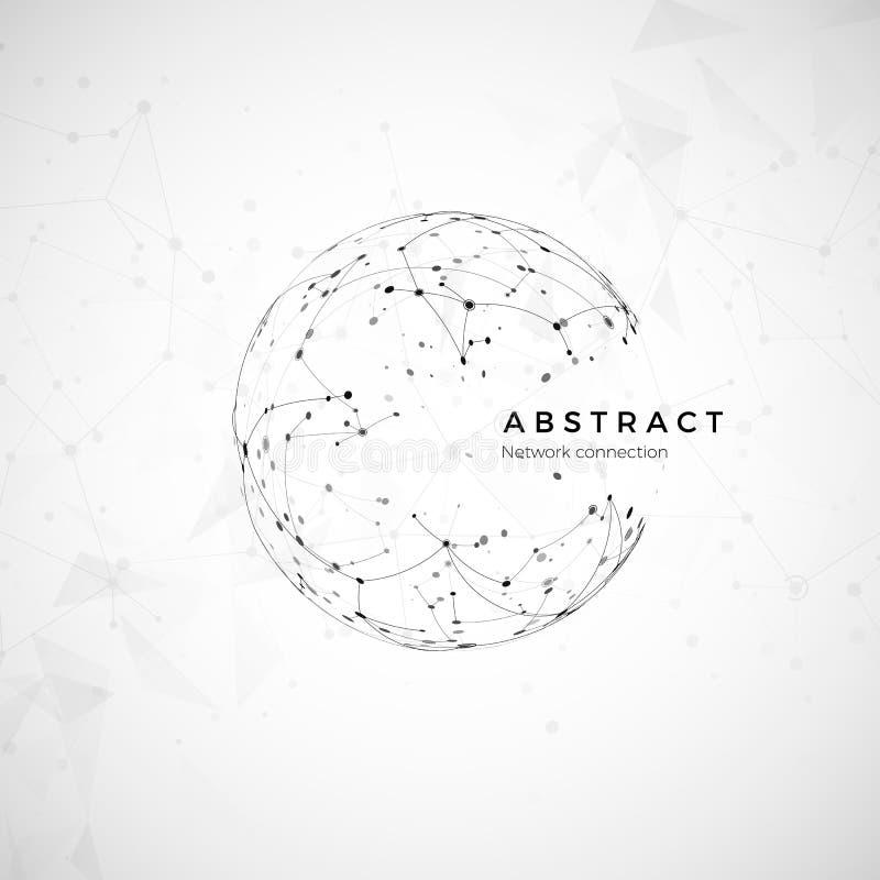 Web global abstracto Nodo y comunicación Modelado neto digital del globo Estructura social del ordenador Vector ilustración del vector