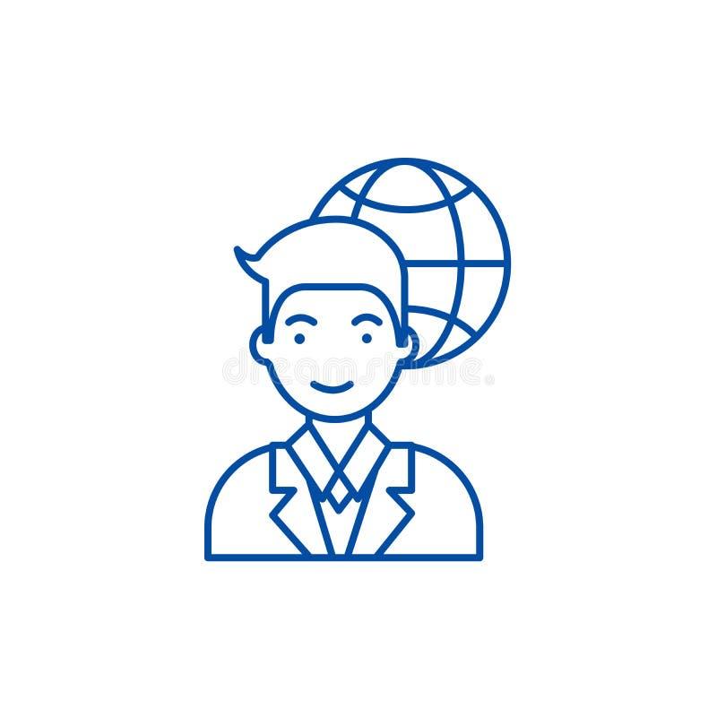 Global businessman  line icon concept. Global businessman  flat  vector symbol, sign, outline illustration. Global businessman  line concept icon. Global royalty free illustration