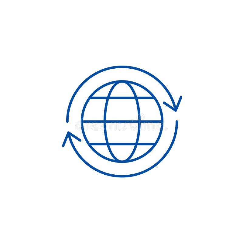 Global logistics line icon concept. Global logistics flat  vector symbol, sign, outline illustration. stock illustration