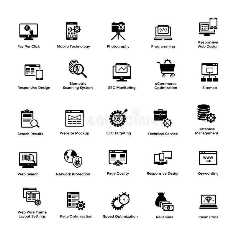 Web and Graphic Designing Glyph Icons Set. This is a pack of glyph icon designs for web and graphic designing. The creative idea of merging both genres in one royalty free illustration