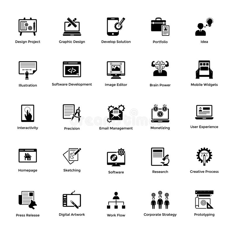 Web and Graphic Designing Solid Icons Design Set vector illustration