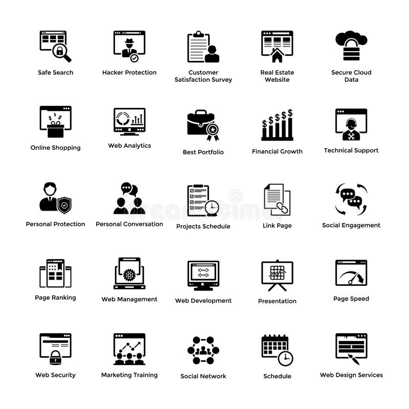 Web and Graphic Designing Solid Icons Design SetWeb and Graphic Designing Glyph Icons Pack vector illustration